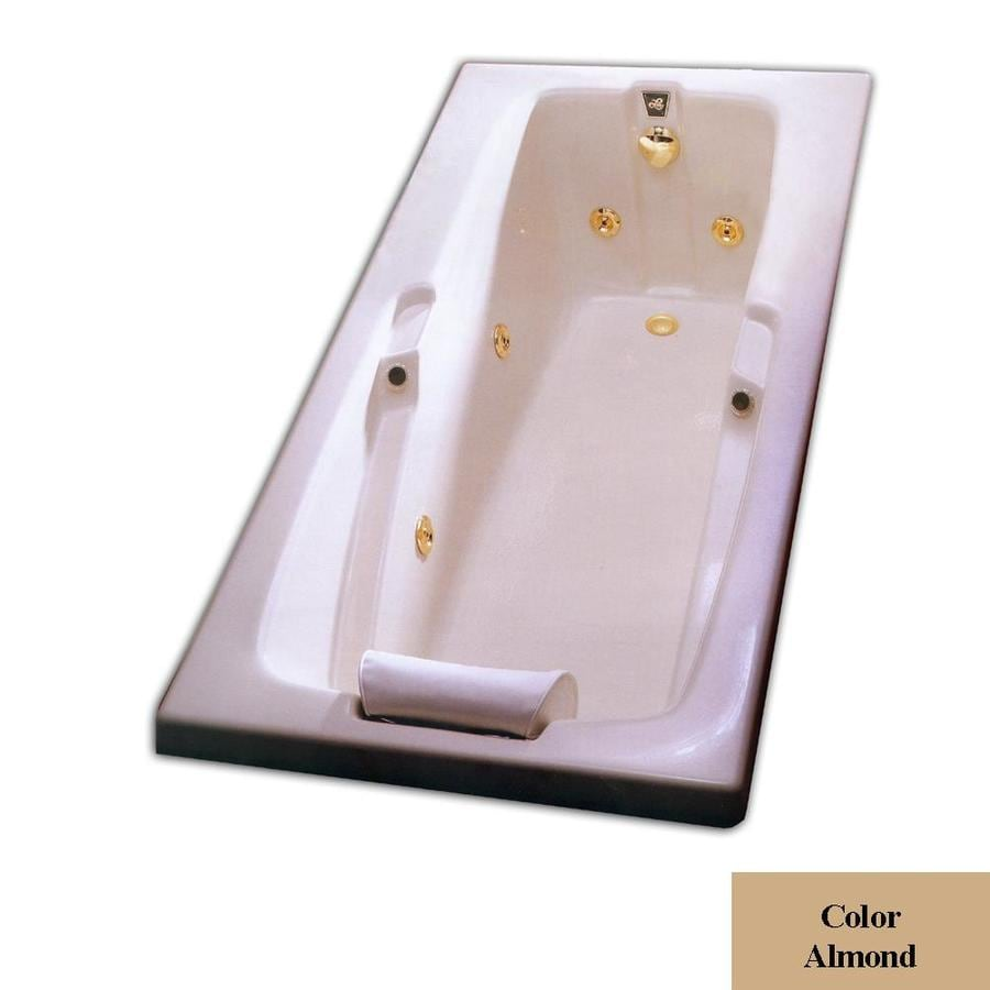Laurel Mountain Mercer III 72-in L x 36-in W x 21.5-in H Almond Acrylic Rectangular Drop-in Air Bath