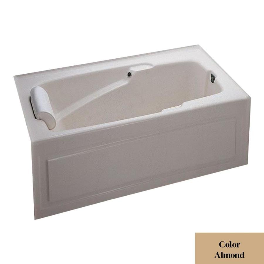 Laurel Mountain Mercer V 60-in L x 36-in W x 21.5-in H Almond Acrylic Rectangular Alcove Air Bath