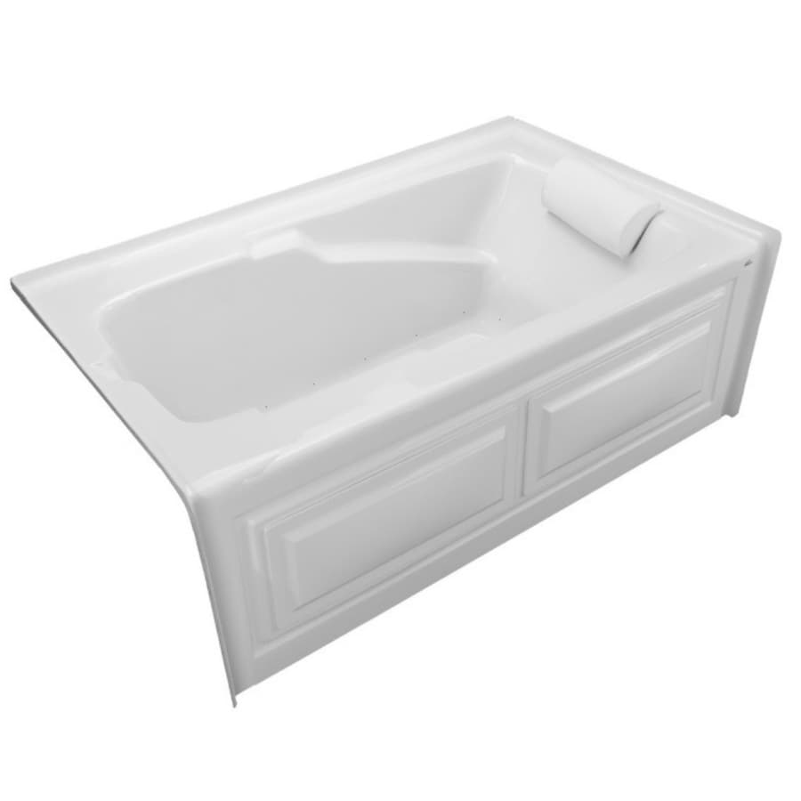 Laurel Mountain Mercer V 60-in White Acrylic Alcove Air Bath with Left-Hand Drain