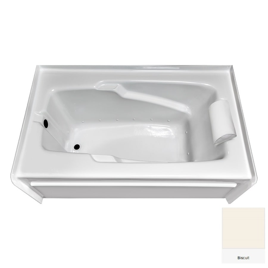 Laurel Mountain Mercer V 60-in L x 36-in W x 21.5-in H Biscuit Acrylic Rectangular Alcove Air Bath