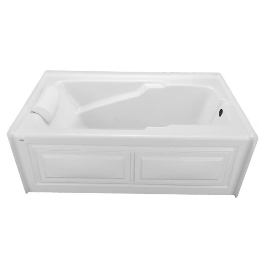 Laurel Mountain Mercer VI 72-in White Acrylic Alcove Air Bath with Right-Hand Drain