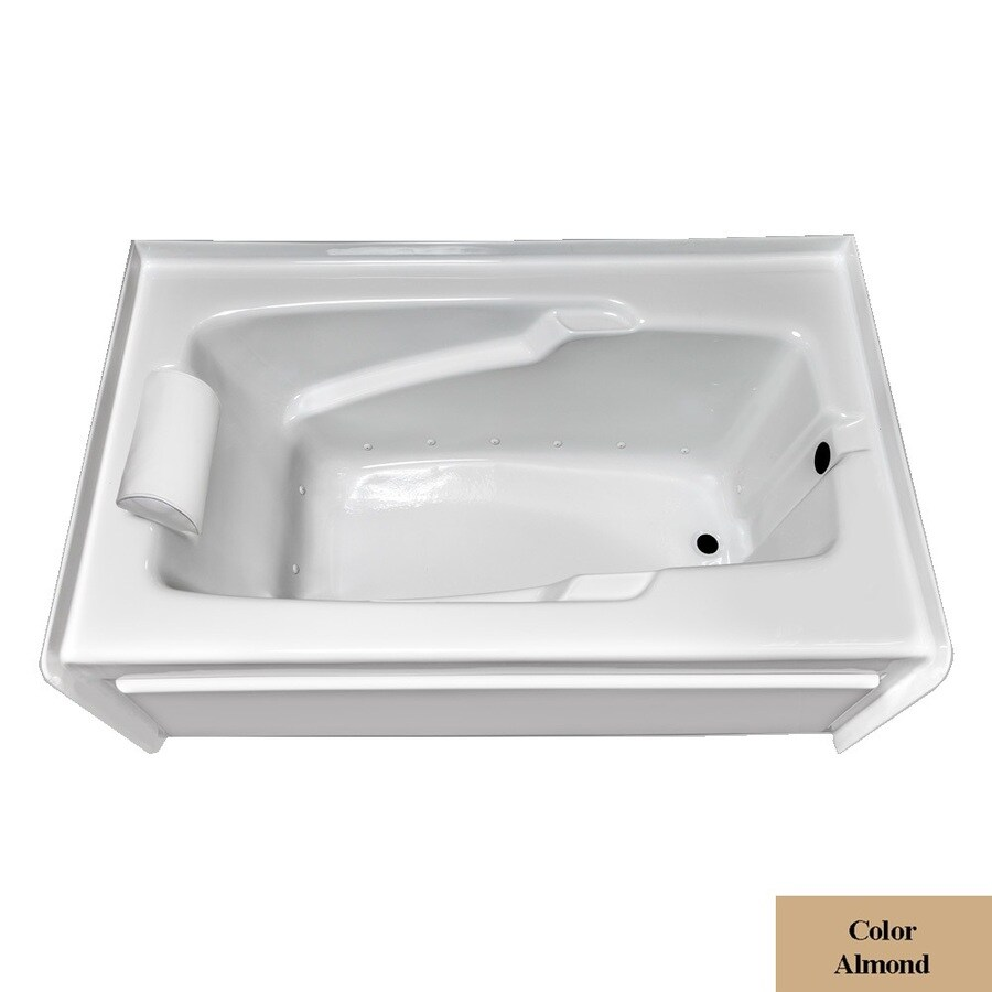 Laurel Mountain Mercer VI 72-in L x 36-in W x 21.5-in H Almond Acrylic Rectangular Skirted Air Bath