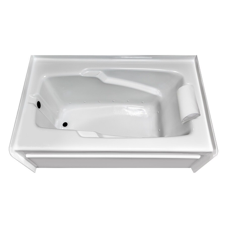 Laurel Mountain Mercer VI 72-in White Acrylic Alcove Air Bath with Left-Hand Drain