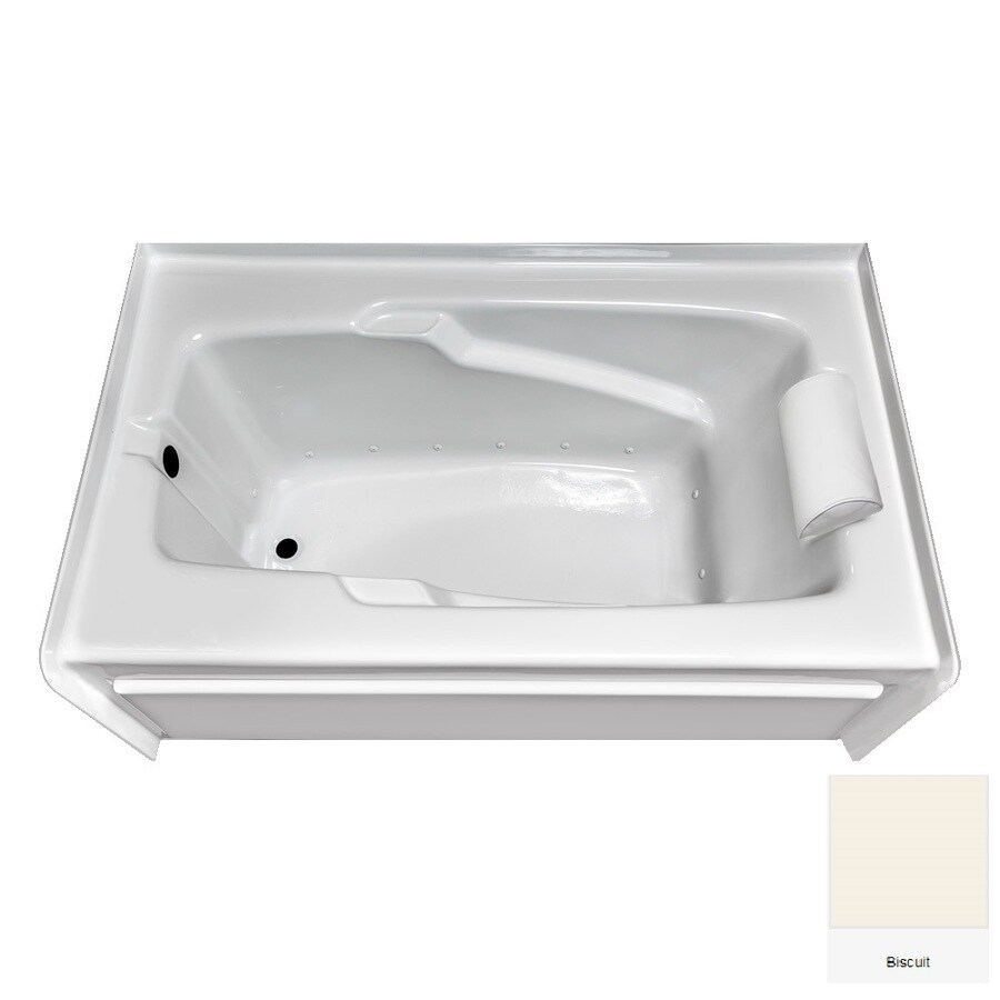 Laurel Mountain Mercer VI 72-in Biscuit Acrylic Alcove Air Bath with Left-Hand Drain