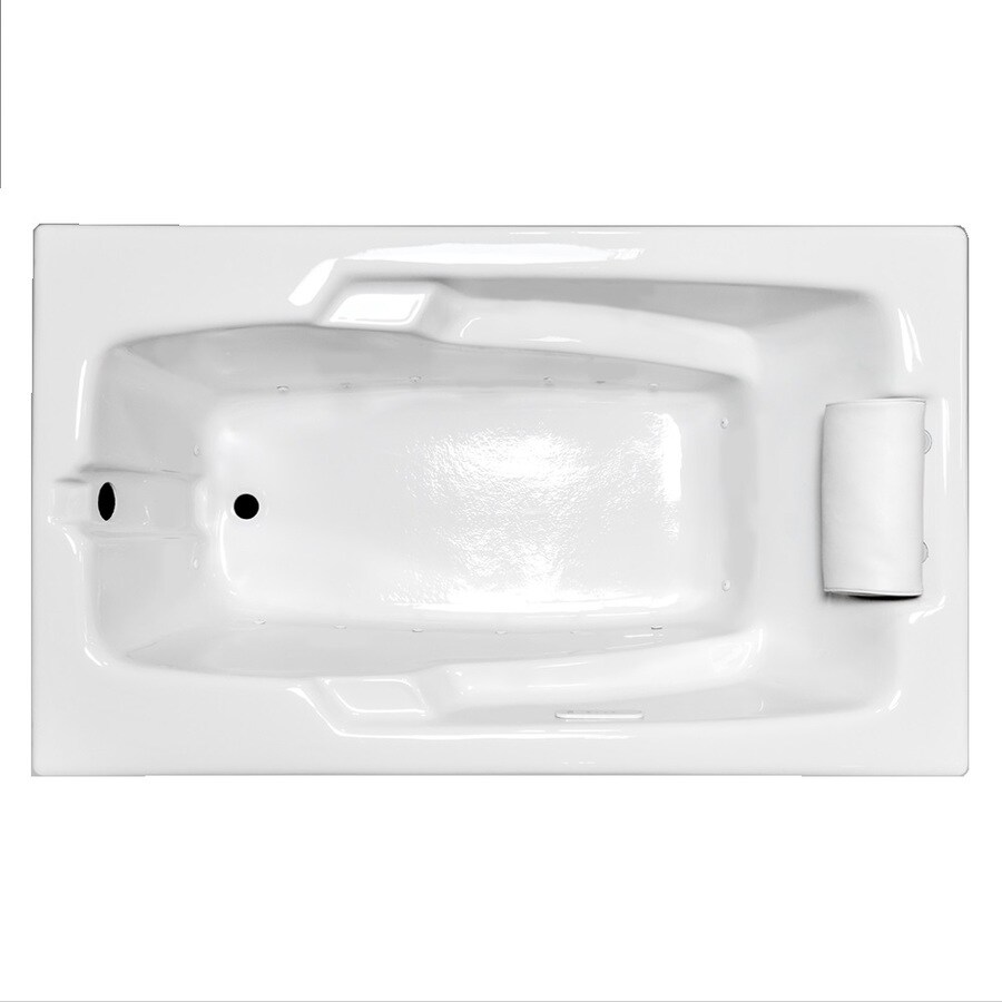 Laurel Mountain Mercer VII 66-in White Acrylic Drop-In Air Bath with Reversible Drain