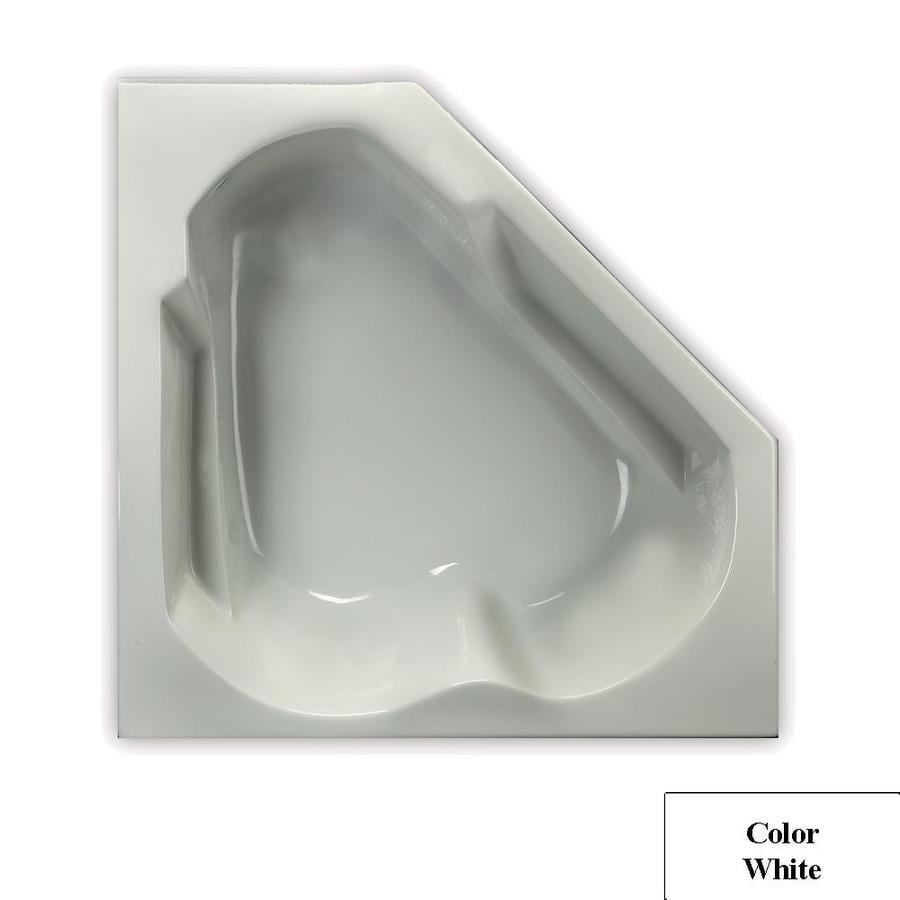 Laurel Mountain Dual Corner Trade 59.63-in White Acrylic Drop-In Air Bath with Left-Hand Drain