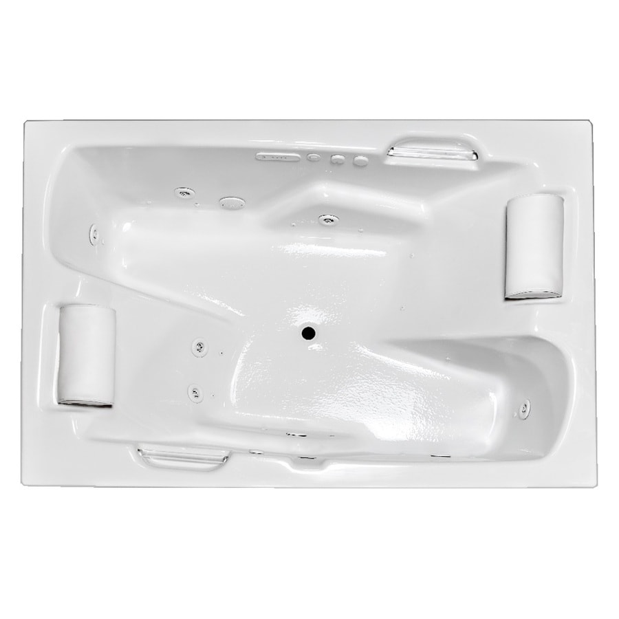 Laurel Mountain Oakmont 72-in L x 48-in W x 26-in H 2-Person White Acrylic Rectangular Whirlpool Tub and Air Bath