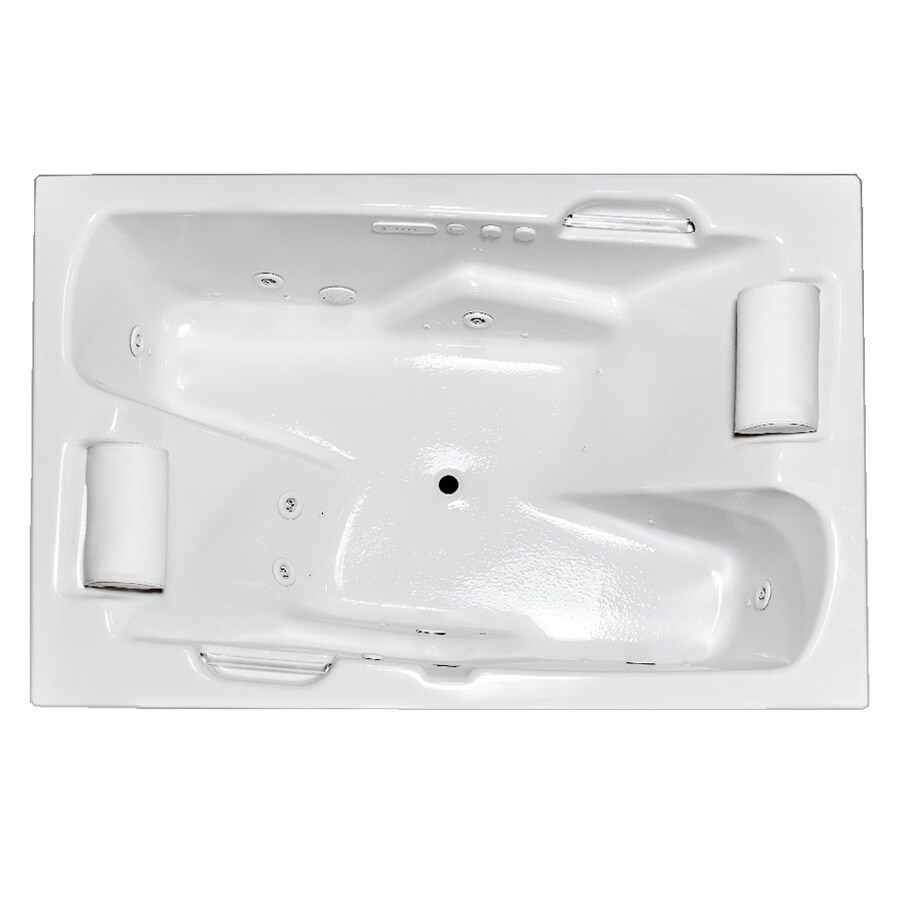 Laurel Mountain Oakmont II 71.75-in L x 53.75-in W x 26-in H 2-Person White Acrylic Rectangular Whirlpool Tub and Air Bath