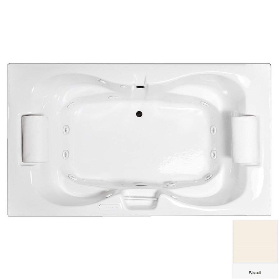 Laurel Mountain Seneca II 71.75-in L x 41.75-in W x 23-in H 2-Person Biscuit Acrylic Hourglass Whirlpool Tub and Air Bath