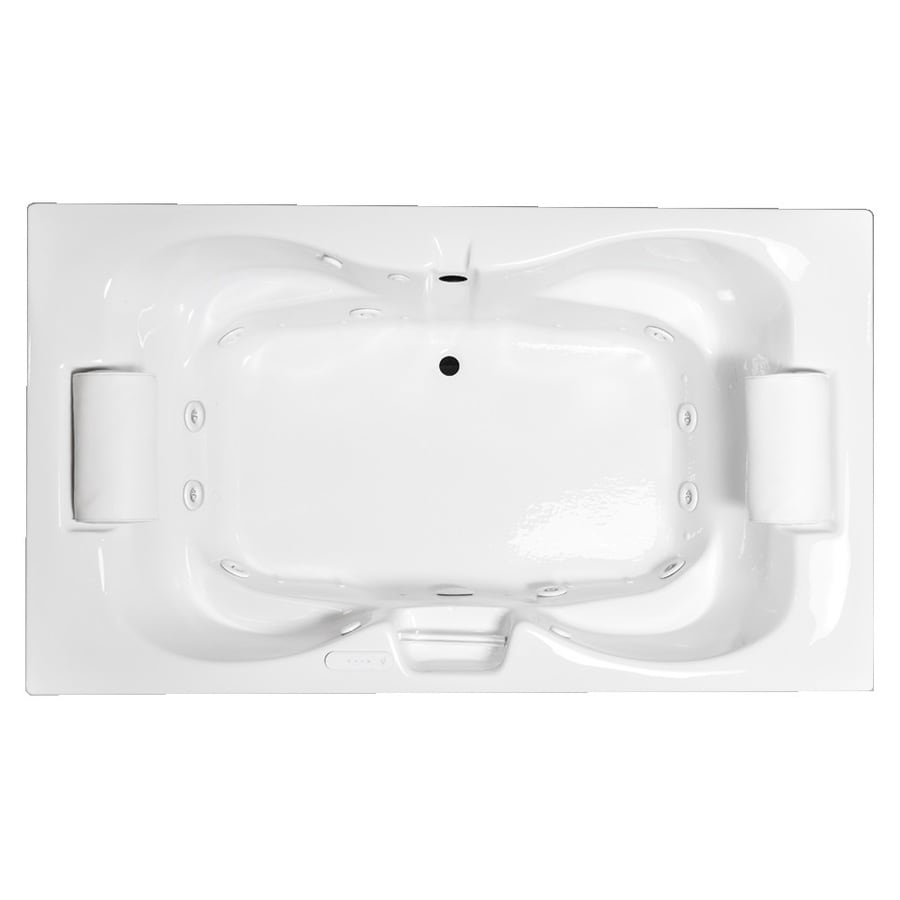 Laurel Mountain Seneca III 72-in White Acrylic Drop-In Whirlpool Tub and Air Bath with Center Drain