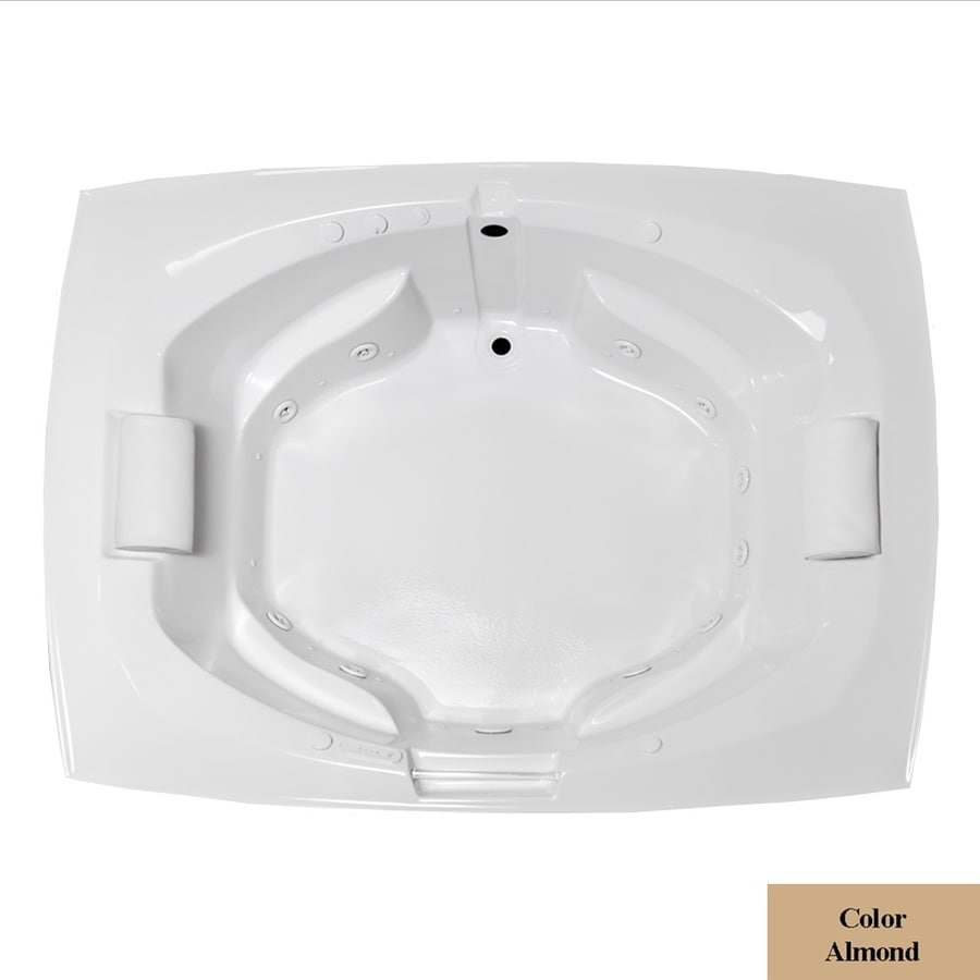 Laurel Mountain Bedford 81-in L x 63.25-in W x 24.5-in H 2-Person Almond Acrylic Oval In Rectangle Whirlpool Tub and Air Bath