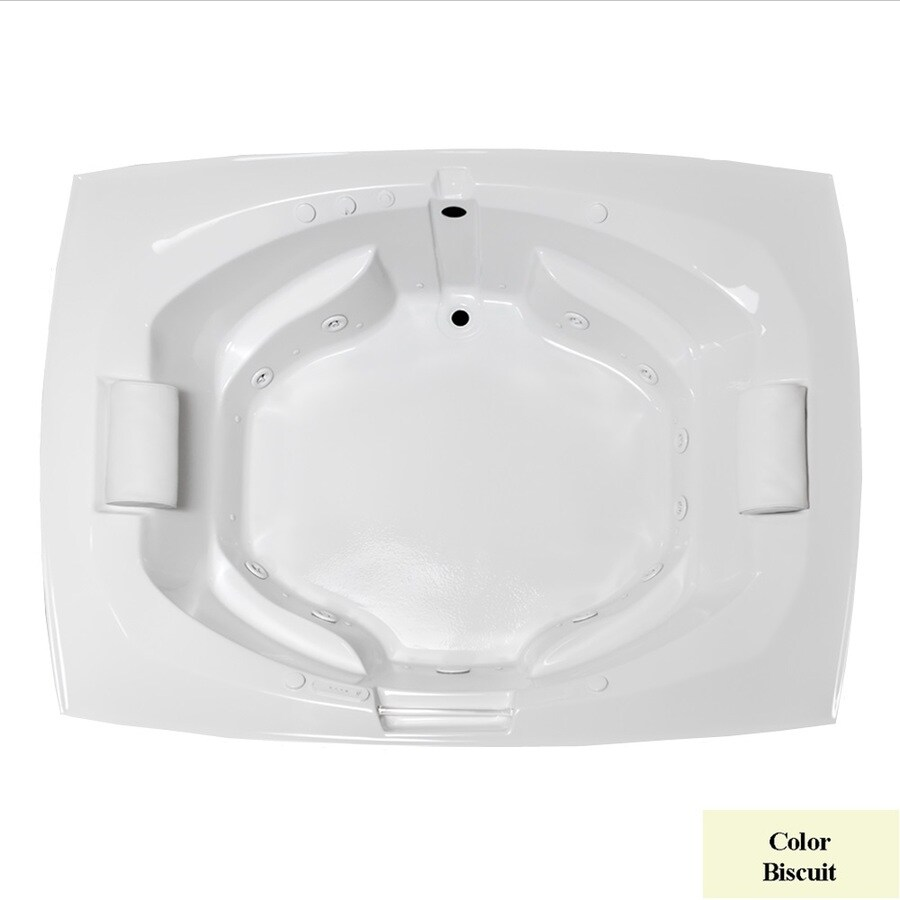 Laurel Mountain Bedford 81-in L x 63.25-in W x 24.5-in H 2-Person Biscuit Acrylic Oval In Rectangle Whirlpool Tub and Air Bath