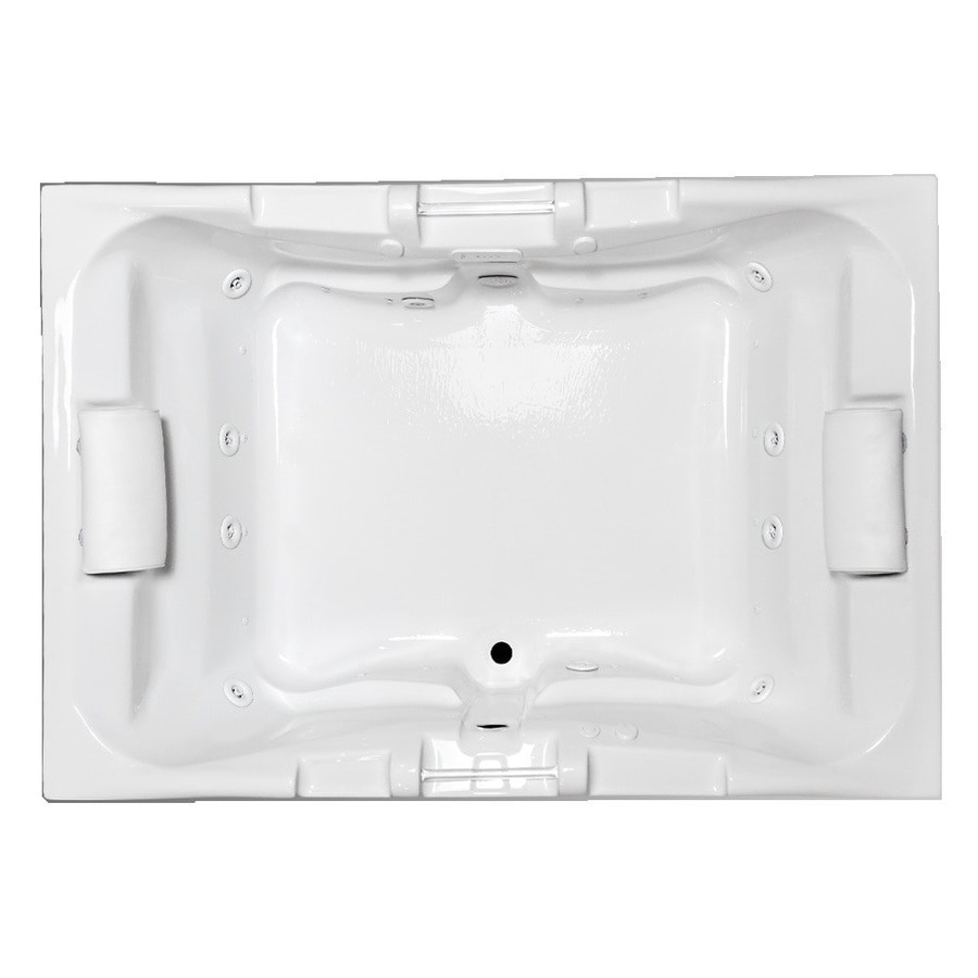 Laurel Mountain Delmont II 71.25-in L x 48-in W x 23-in H 2-Person White Acrylic Rectangular Whirlpool Tub and Air Bath