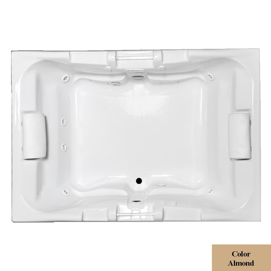 Laurel Mountain Delmont II 72-in L x 48-in W x 23-in H 2-Person Almond Acrylic Rectangular Whirlpool Tub and Air Bath