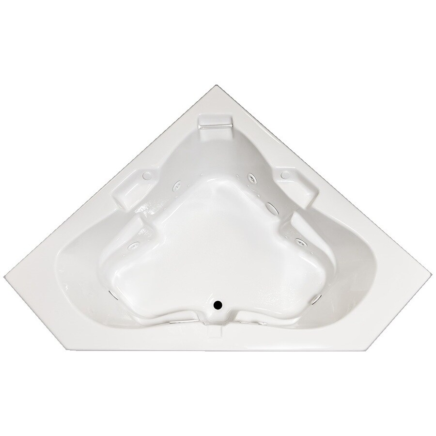 Laurel Mountain Tremont 59.75-in L x 59.75-in W x 23-in H 2-Person White Acrylic Corner Whirlpool Tub and Air Bath