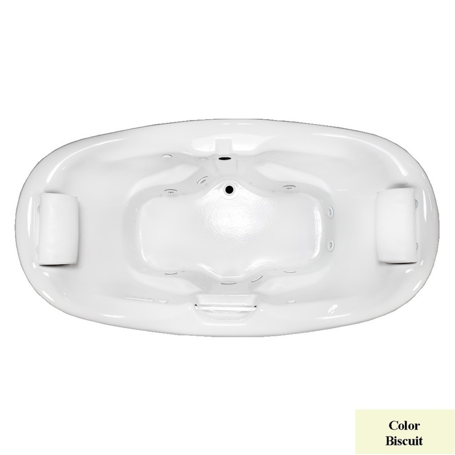 Laurel Mountain Windsor 74.5-in L x 41.75-in W x 31.25-in H 2-Person Biscuit Acrylic Oval Whirlpool Tub and Air Bath