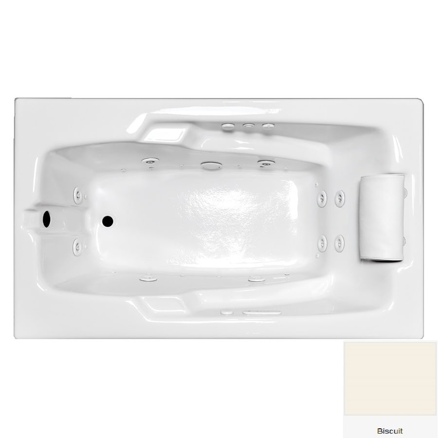 Laurel Mountain Mercer II 59.75-in L x 35.75-in W x 21.5-in H 1-Person Biscuit Acrylic Rectangular Whirlpool Tub and Air Bath