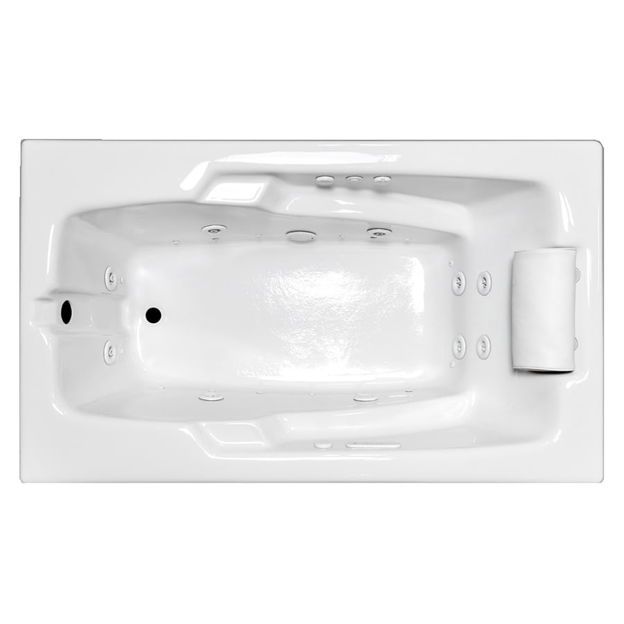 Laurel Mountain Mercer III 72-in White Acrylic Drop-In Whirlpool Tub and Air Bath with Reversible Drain
