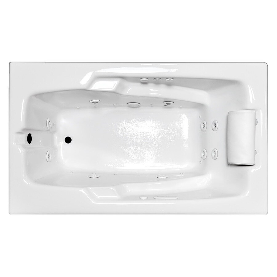 Laurel Mountain Mercer III 71.75-in L x 35.75-in W x 21.5-in H 1-Person White Acrylic Rectangular Whirlpool Tub and Air Bath