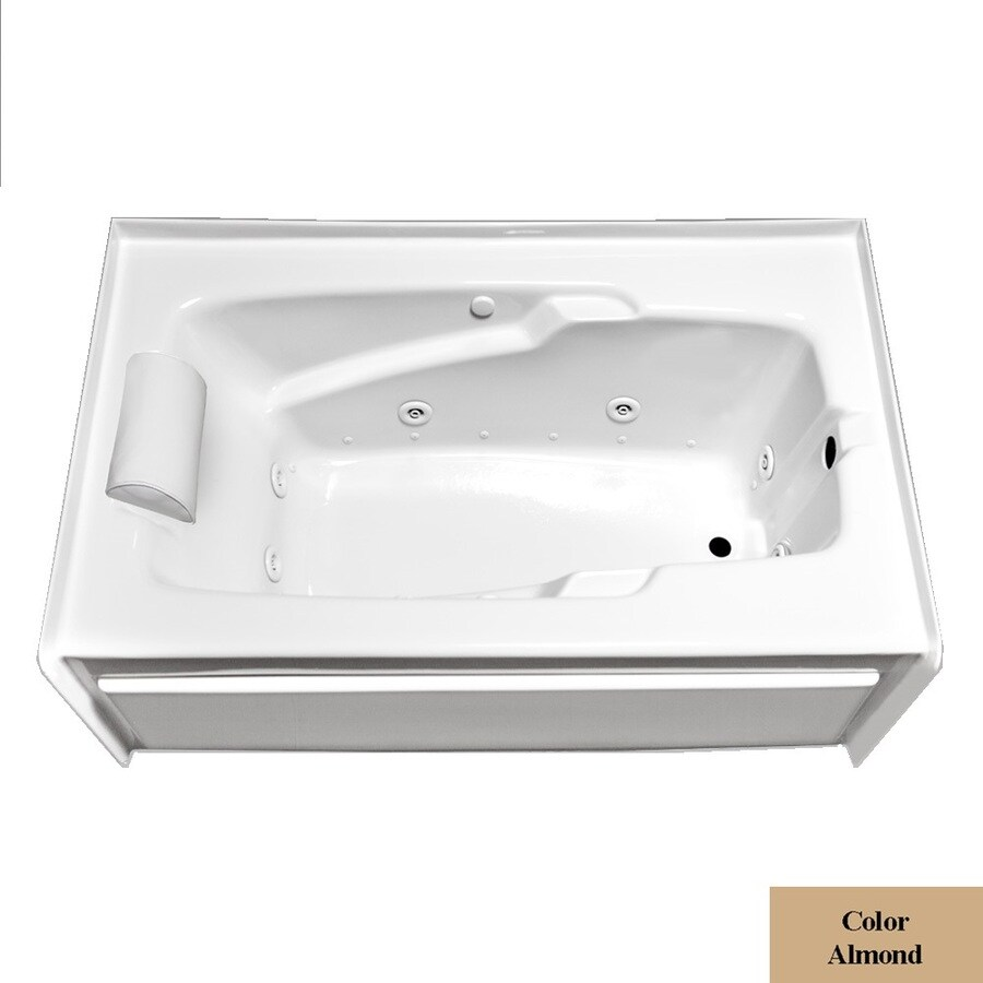 Laurel Mountain Mercer IV 59.75-in L x 31.75-in W x 21.5-in H 1-Person Almond Acrylic Rectangular Whirlpool Tub and Air Bath
