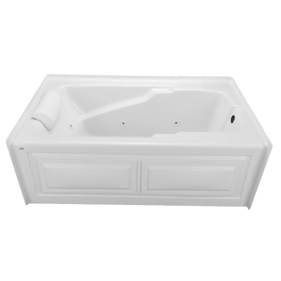 Laurel Mountain Mercer V 60-in White Acrylic Alcove Whirlpool Tub And Air Bath with Right-Hand Drain