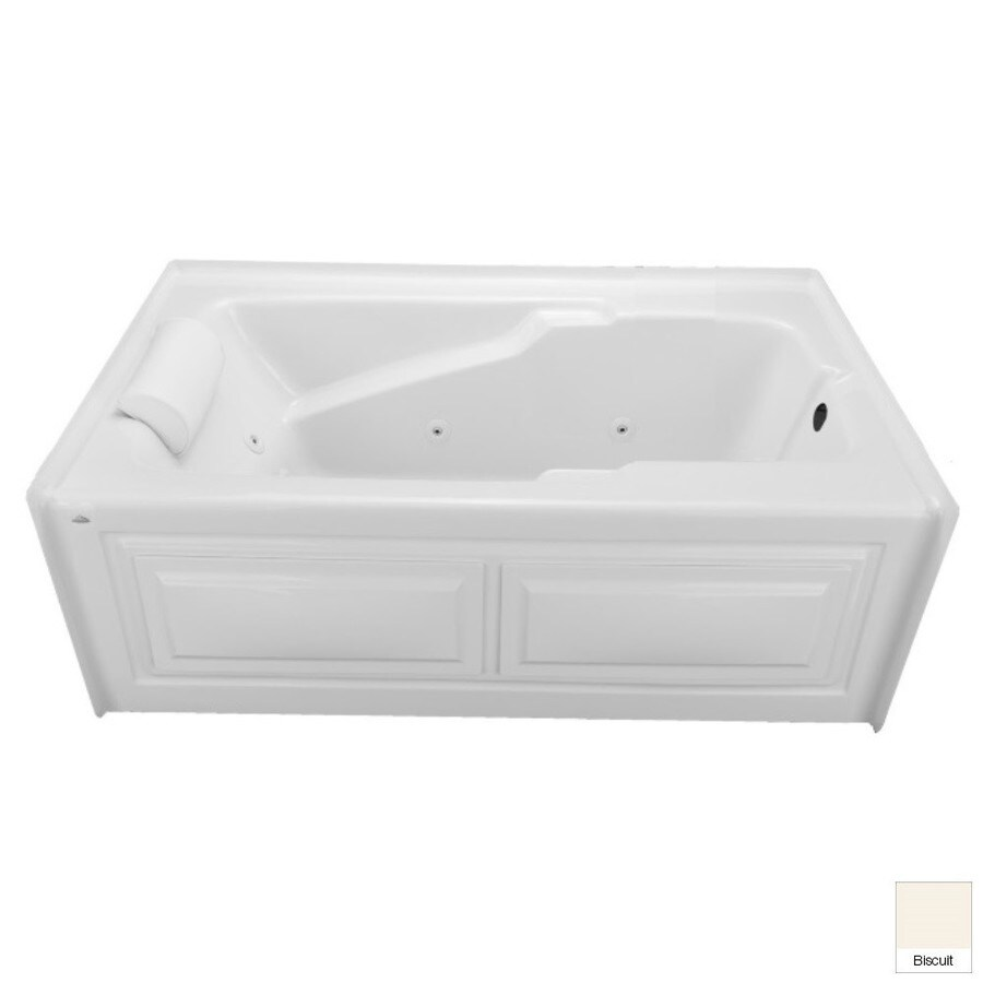 Laurel Mountain Mercer VI 71.75-in L x 35.75-in W x 21.5-in H 1-Person Biscuit Acrylic Rectangular Whirlpool Tub and Air Bath