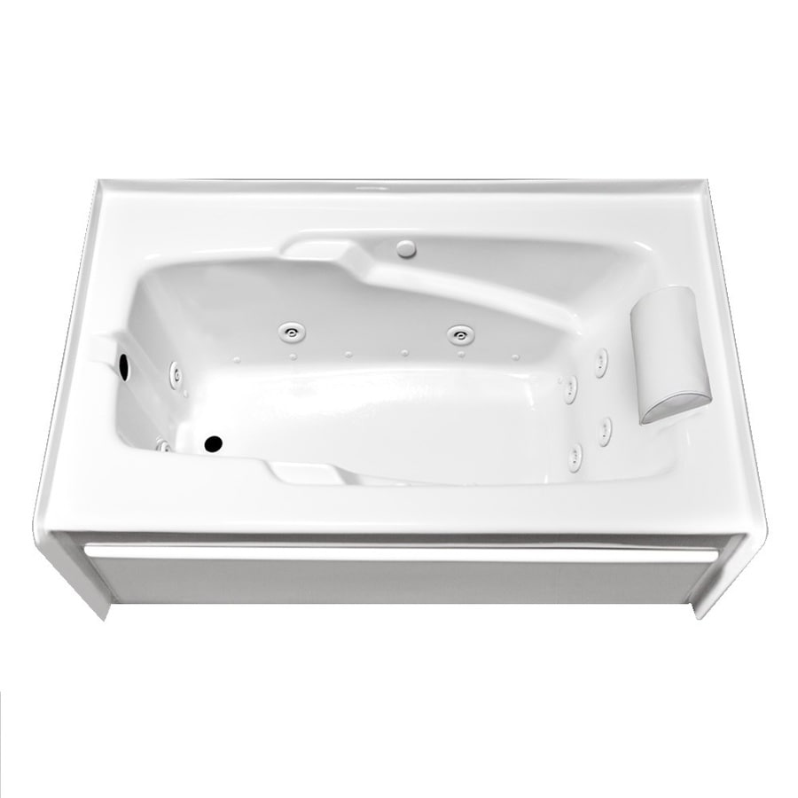 Laurel Mountain Mercer VI 72-in White Acrylic Alcove Whirlpool Tub And Air Bath with Left-Hand Drain