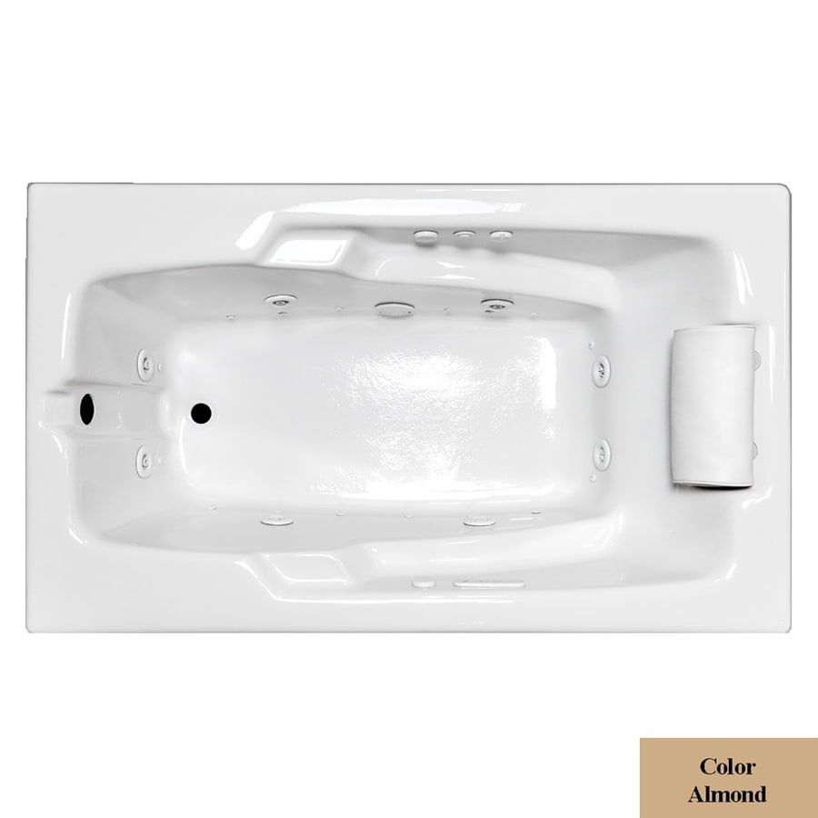 Laurel Mountain Mercer VII 66-in L x 36-in W x 21.5-in H Almond Acrylic Rectangular Whirlpool Tub and Air Bath
