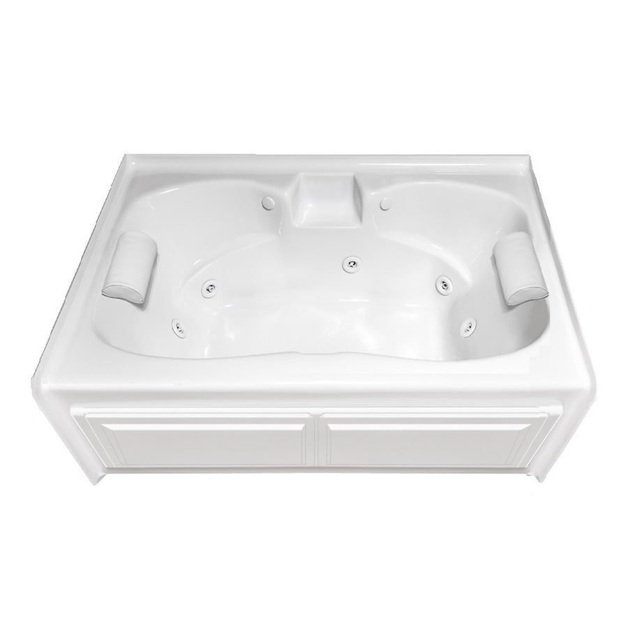 Laurel Mountain Alcove Plus 59 75 In White Acrylic Hourgl Rectangle Front Center Drain