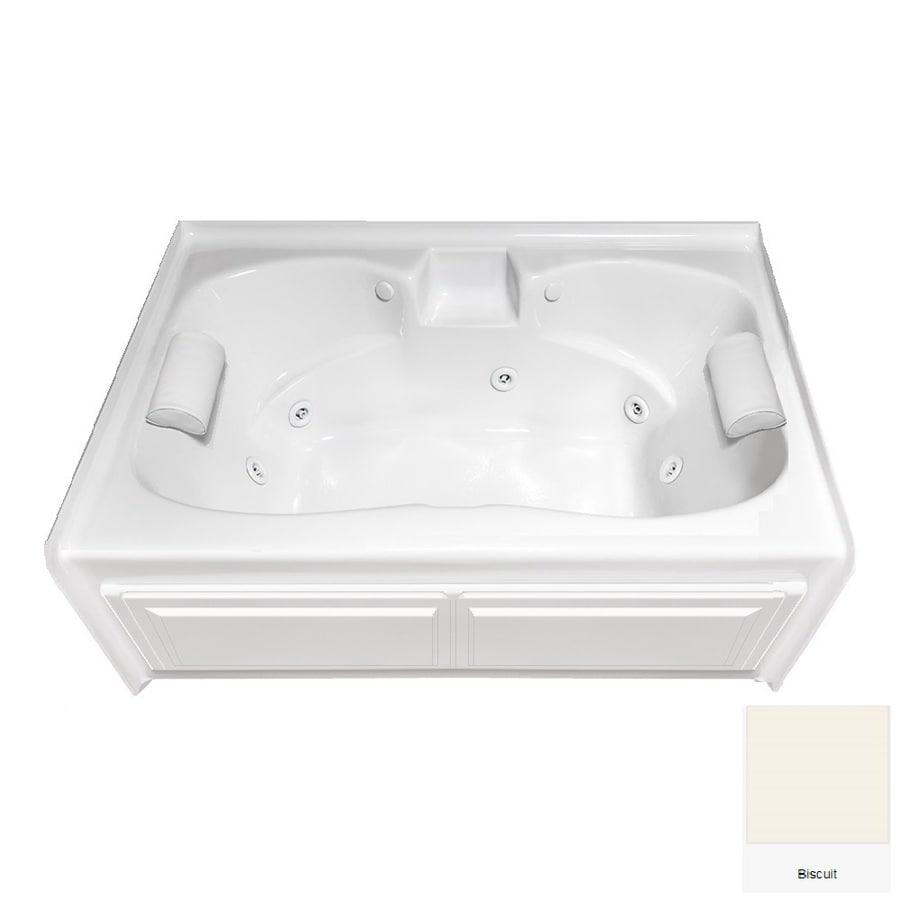 Laurel Mountain Alcove Plus 59.75-in Biscuit Acrylic Skirted Whirlpool Tub with Front Center Drain