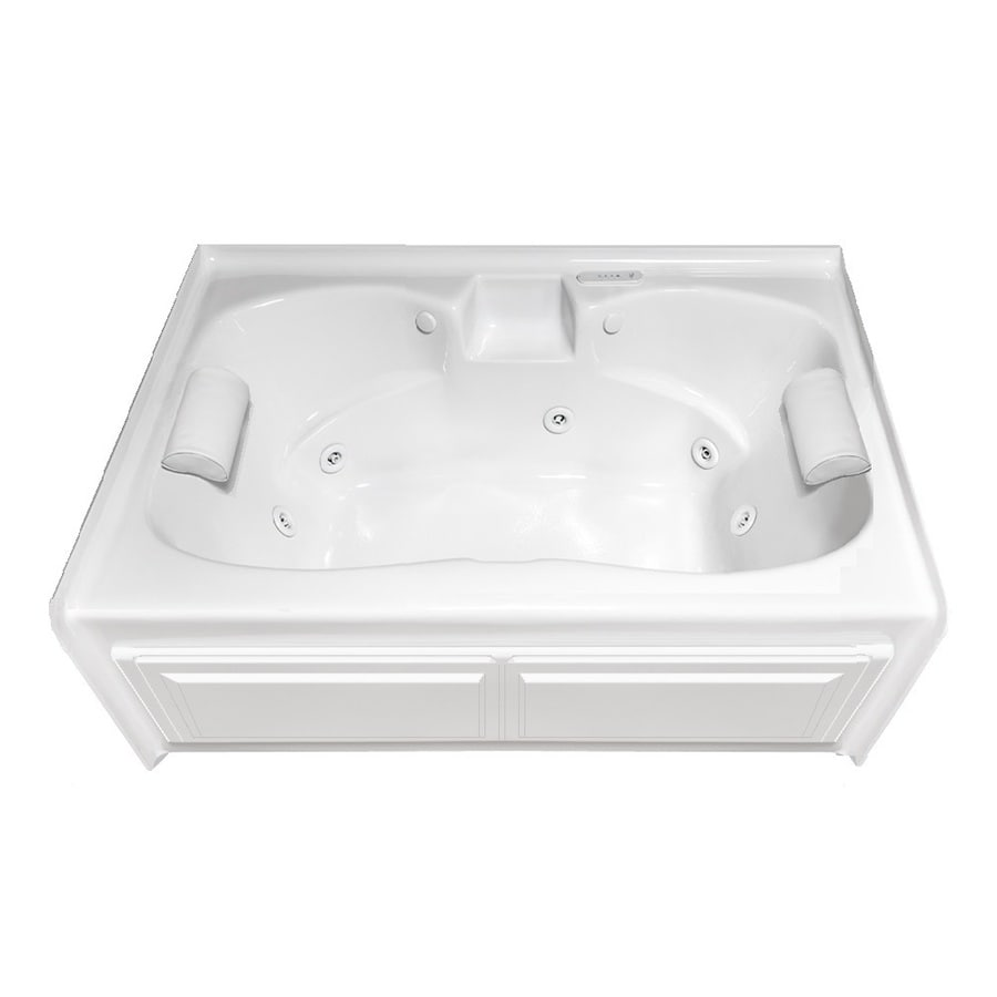 Laurel Mountain Alcove Plus 60-in White Acrylic Alcove Whirlpool Tub and Air Bath with Center Drain