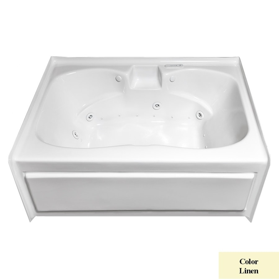 Laurel Mountain Alcove Plus 59.75-in L x 41.75-in W x 22-in H 2-Person Linen Acrylic Hourglass In Rectangle Whirlpool Tub and Air Bath