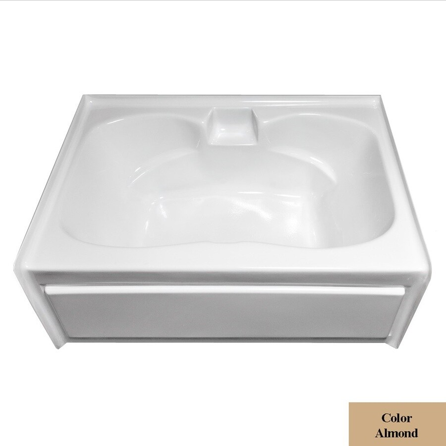 Laurel Mountain Alcove Plus Almond Acrylic Hourglass In Rectangle Alcove Bathtub with Center Drain (Common: 42-in x 60-in; Actual: 22-in x 41.75-in x 59.75-in
