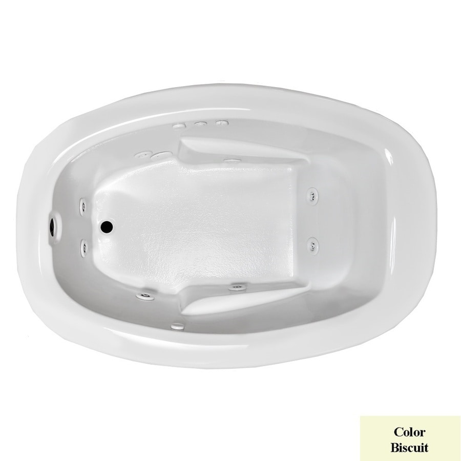 Laurel Mountain Drop In II Plus Biscuit Acrylic Oval Whirlpool Tub (Common: 42-in x 72-in; Actual: 23-in x 41.5-in x 71.75-in)