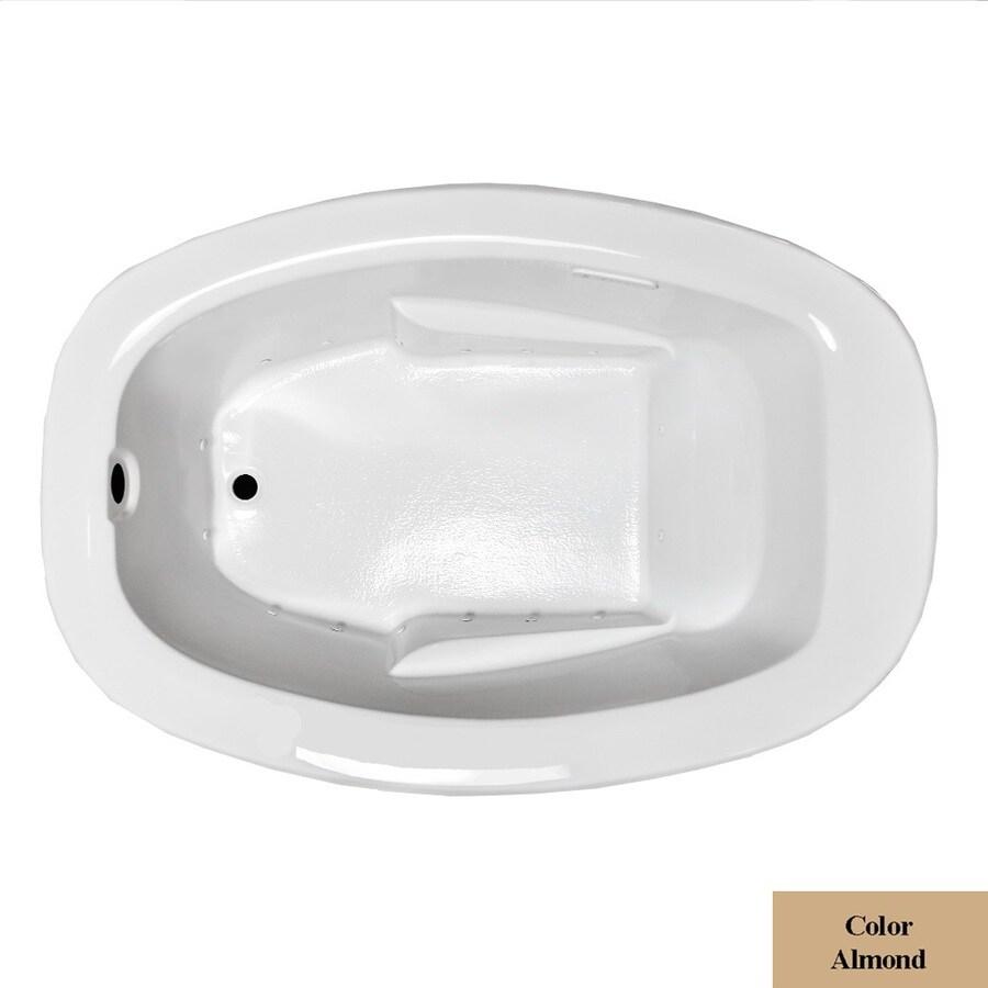 Laurel Mountain Drop In II Plus 72-in L x 42-in W x 23-in H Almond Acrylic Oval Drop-in Air Bath