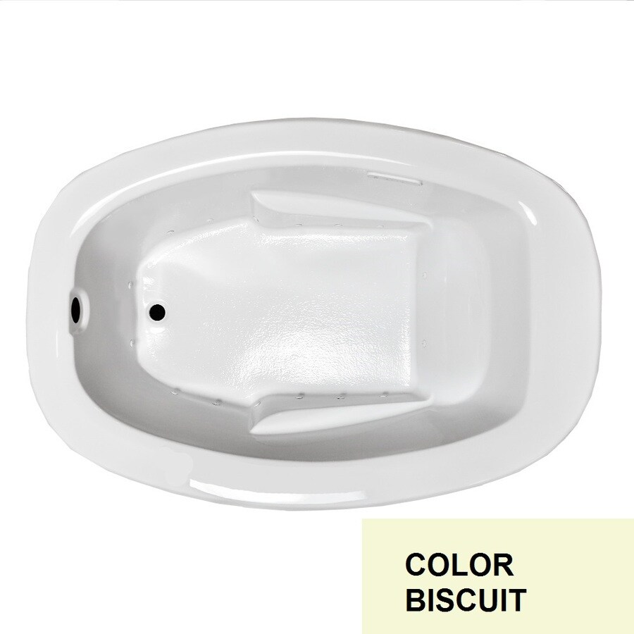 Laurel Mountain Drop In II Plus 72-in L x 42-in W x 23-in H Biscuit Acrylic Oval Drop-in Air Bath