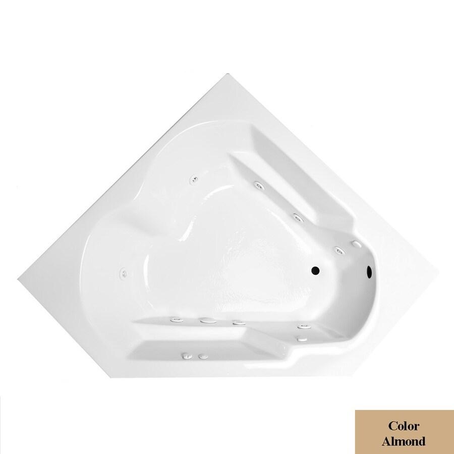 Laurel Mountain Dual Corner Plus 2-Person Almond Acrylic Corner Whirlpool Tub (Common: 60-in x 60-in; Actual: 20-in x 59.625-in x 59.625-in)