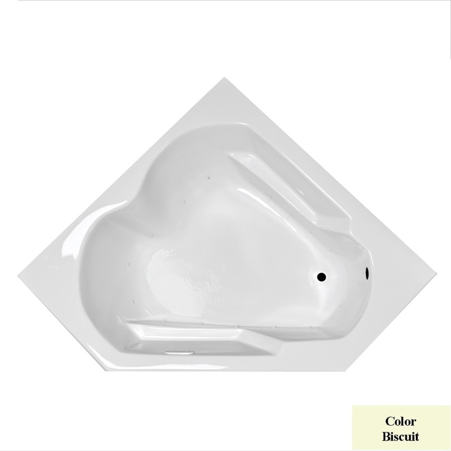 Laurel Mountain Dual Corner Plus 59.625-in Biscuit Acrylic Drop-In Air Bath with Right-Hand Drain