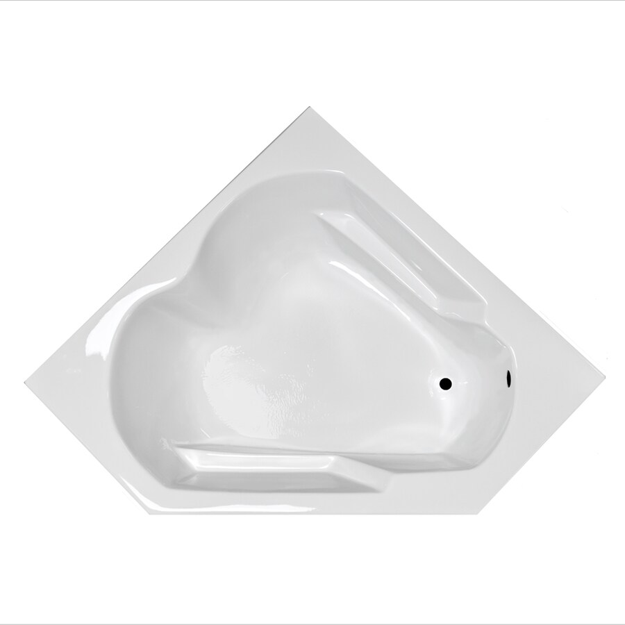 Laurel Mountain Dual Corner Plus 59.625-in White Acrylic Drop-In Bathtub with Right-Hand Drain