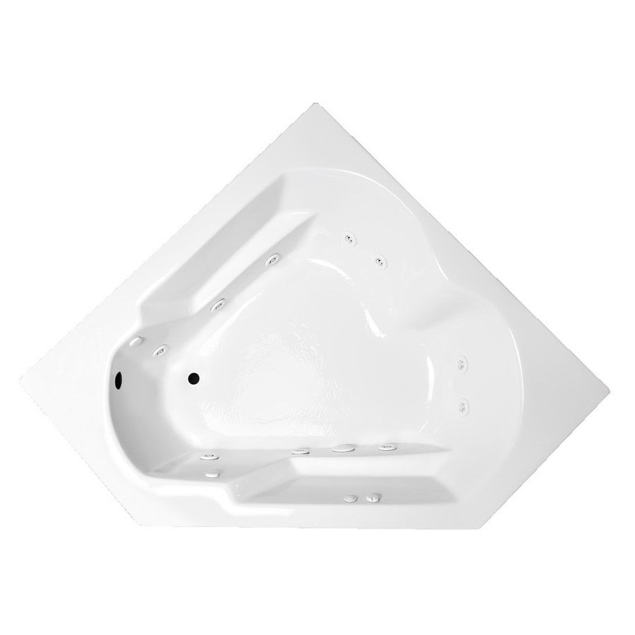 Laurel Mountain Dual Corner Plus 59.625-in White Acrylic Drop-In Whirlpool Tub with Left-Hand Drain