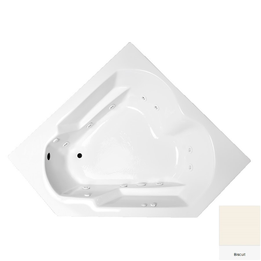 Laurel Mountain Dual Corner Plus 59.625-in Biscuit Acrylic Drop-In Whirlpool Tub with Left-Hand Drain