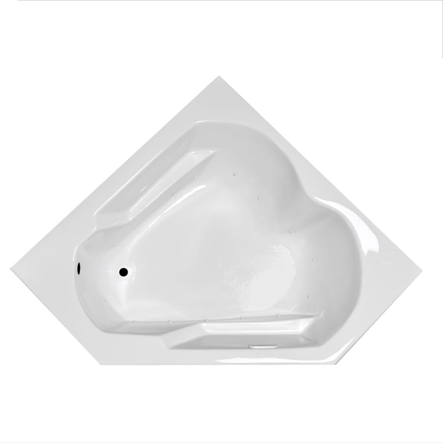 Laurel Mountain Dual Corner Plus 59.625-in White Acrylic Drop-In Air Bath with Left-Hand Drain
