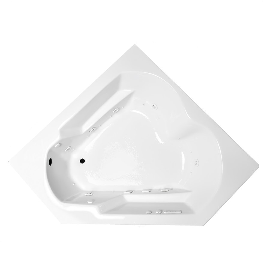 Laurel Mountain Dual Corner Plus 59.625-in L x 59.625-in W x 20-in H 2-Person White Acrylic Corner Whirlpool Tub and Air Bath