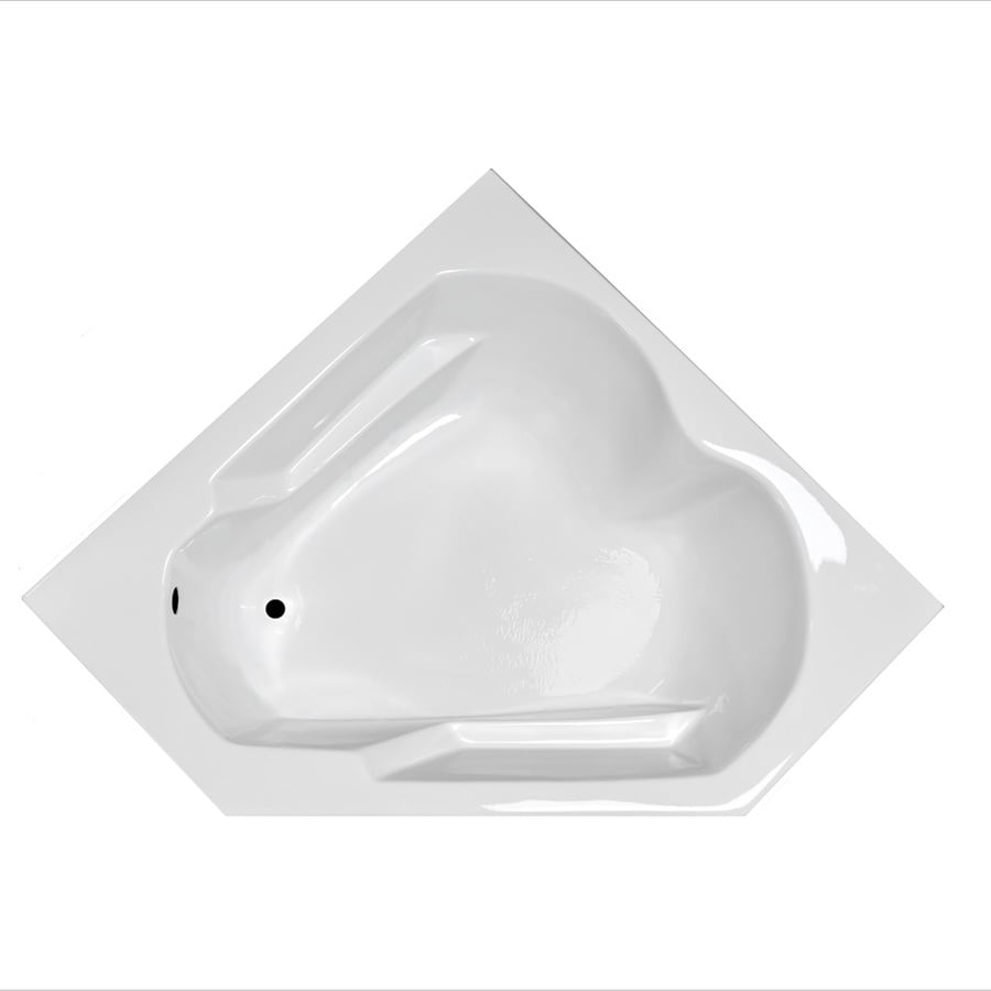 Laurel Mountain Dual Corner Plus White Acrylic Corner Drop-in Bathtub with Left-Hand Drain (Common: 60-in x 60-in; Actual: 20-in x 59.625-in x 59.625-in