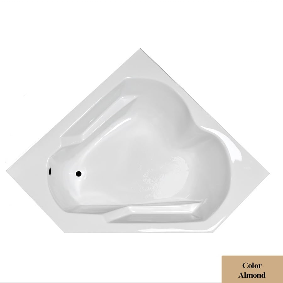 Laurel Mountain Dual Corner Plus Almond Acrylic Corner Drop-in Bathtub with Left-Hand Drain (Common: 60-in x 60-in; Actual: 20-in x 59.625-in x 59.625-in