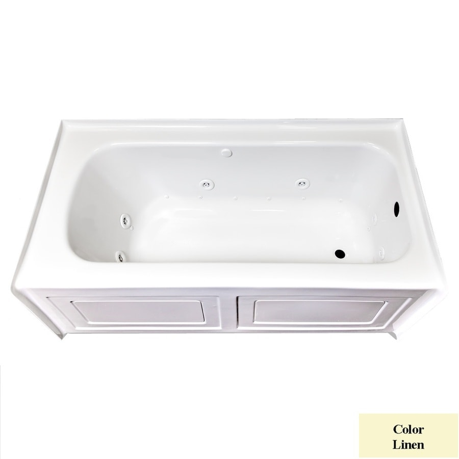Laurel Mountain Fairhaven IV 59.75-in L x 31.5-in W x 22.5-in H 1-Person Linen Acrylic Rectangular Whirlpool Tub and Air Bath