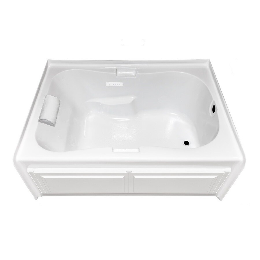 Laurel Mountain 59.5-in White Acrylic Skirted Air Bath with Right-Hand Drain