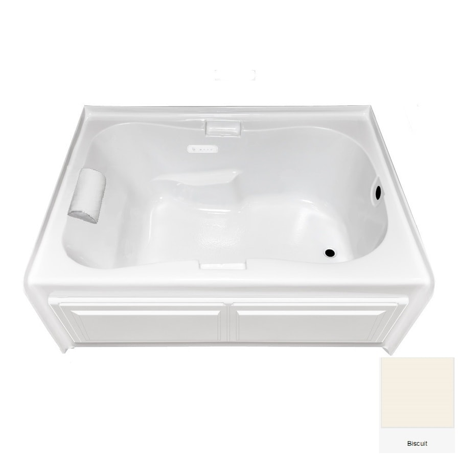 Laurel Mountain Hourglass I Plus 59.5-in Biscuit Acrylic Skirted Air Bath with Right-Hand Drain