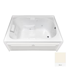 Jacuzzi Nova 42 In W X 60 In L Oyster Acrylic Oval Right Drain Alcove Whirlpool Tub In The Bathtubs Department At Lowes Com