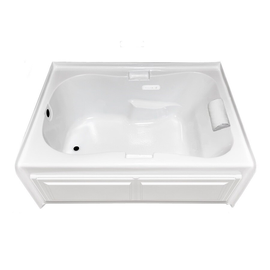 Laurel Mountain Hourglass I Plus Alcove Alcove 60-in White Acrylic Alcove Air Bath with Left-Hand Drain